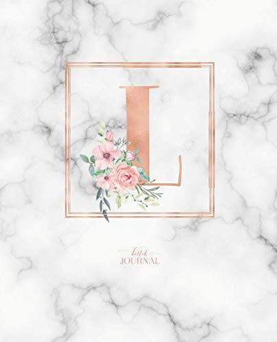 Dotted Journal: Dotted Grid Bullet Notebook Journal Rose Gold Monogram Letter L Marble with Pink Flowers (7.5 x 9.25) for Women Teens Girls and Kids