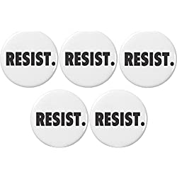 "QTY 5 Resist (B&W) 2.25"" Large Buttons Pins Protest Political Persist Anti Trump"