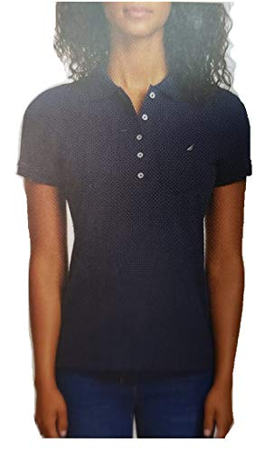 Stretch Polo Tops - Nautica Women's Short Sleeve Stretch Solid Polo Shirt (Navy, X-Large)