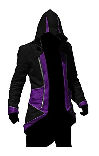Connor Kenway Costume Female (Cos2be Hoodie Jacket Coat (Black&Purple,Women-S))