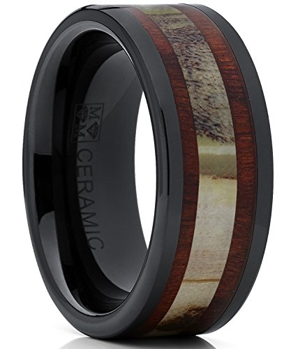 Men's Black Ceramic Ring Wedding Band with Real Antler and Koa Wood Inlay, Outdoor Hunting, Comfort Fit 12