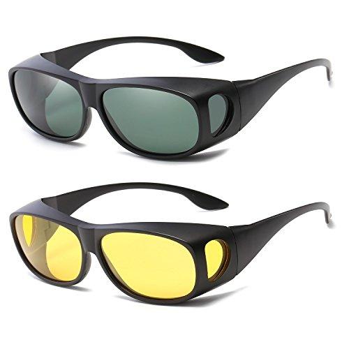 (Gemgoo 2PCS Glasses Optic HD Night Day Vision Driving Wrap Around Anti Glare Sunglasses Fitover Glasses)