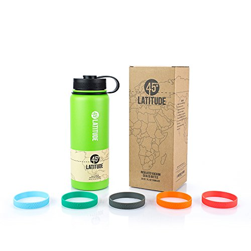 45 Degree Latitude Stainless Steel Insulated Vacuum Sealed Water Bottle, 24-Ounce, Lime - Lime Green Bottle