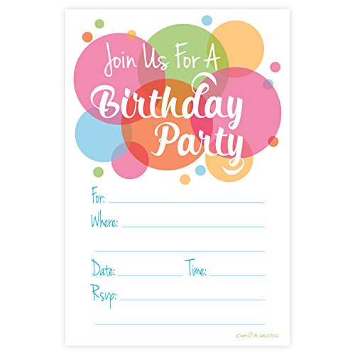 Invitation Birthday Card Barbie - Happy Dot Birthday Party Invitations - Fill In Style (20 Count) With Envelopes
