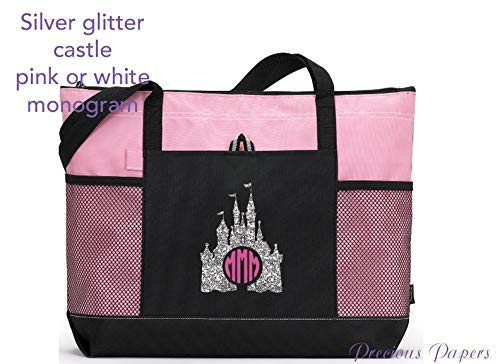 Personalized Silver glitter castle design on a pink and black tote bag for a cruise or a trip to amusement park your monogram with choice of colors]()