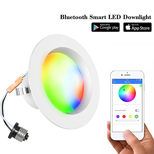 Smart LED Downlight-iLintek Bluetooth Multicolor 4 Inch/6 Inch Recessed Lights Color Changing RGBW LED Light - Bluetooth App Smartphone Controlled for Christmas Party - No Hub Needed (4inch-8pack) by iLintek