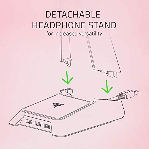 Razer Base Station Chroma Headphone/Headset Stand w/ USB Hub: Chroma RGB Lighting - 3x USB 3.0 Ports - Non-Slip Rubber Base - Designed for Gaming Headsets - Quartz Pink