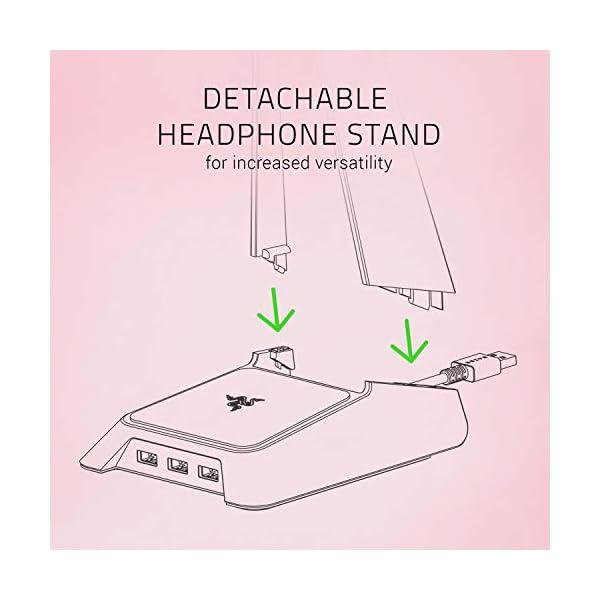 Razer Base Station Chroma Headphoneheadset Stand W Usb Hub Chroma Rgb Lighting 3x Usb 30 Ports Non Slip Rubber Base Designed For Gaming Headsets Quartz Pink