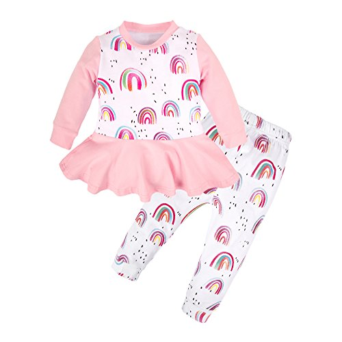 BIG ELEPHANT Baby Girls'2 Pieces Tops Pants Clothing Set