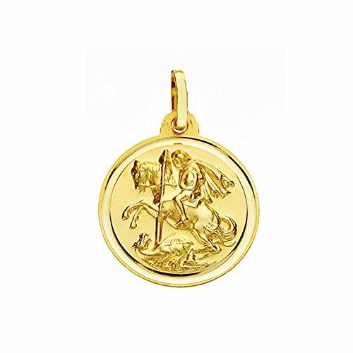 Médaille pendentif San Jorge d'or 18mm 18k. lunette lisse [AA2574]
