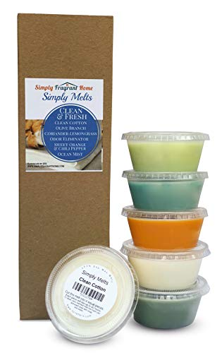 Scented Wax Melts Variety Pack - Hand Poured Natural Soy Wax Melt Cups, 6 Resealable Cups (2.2 Ounces Each, 13.2 Ounces Total), Up to 40 Hours of Scent Throw Per Quarter Cup (Clean & Fresh)