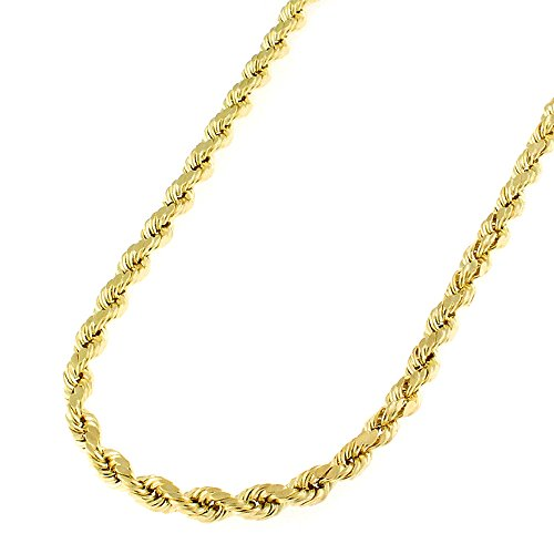 14k Yellow Gold 3mm Solid Rope Diamond-Cut Link Twisted Chain Necklace 16