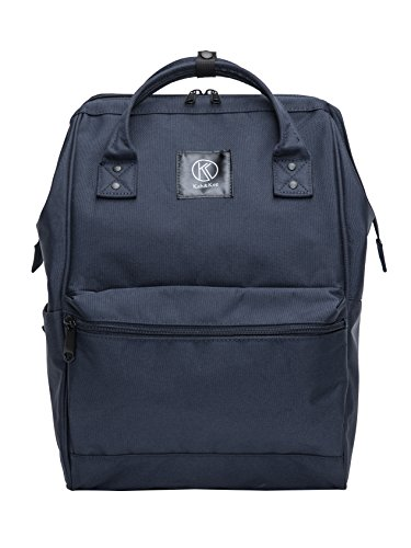 Kah&Kee Polyester Backpack with Laptop Compartment Waterproof Anti-theft Travel School for Women Man (Navy, Large)