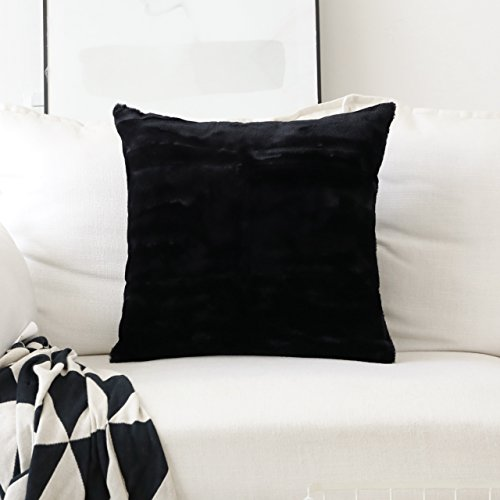 HOME BRILLIANT Fluffy Mongolian Faux Fur/Suede Square Throw Pillow Covers Decorative Couch Cushion Cover, Pillow Not Included, 1 Pc, 45cm, Black -