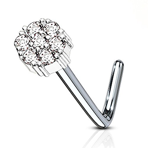 BodyJ4You 20G Nose Ring L-Shape Bend Stud Silvertone CZ Flower Surgical Steel Nostril Body Piercing