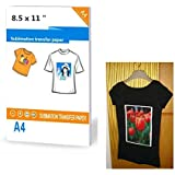 """30 Sheets Heat Sublimation Transfer Paper Printable Heat Transfer Iron-On Dark T-Shirt Transfers Matte Sheets Size 8.5 X 11"""""""