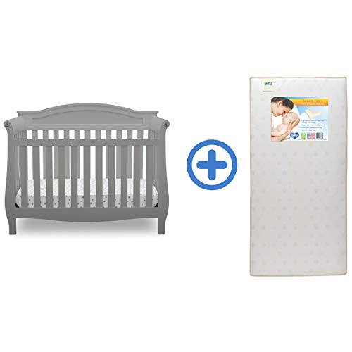 Delta Children Lancaster 4-in-1 Convertible Baby Crib & Twinkle Stars Waterproof Fiber Core Crib and Toddler Mattress, Grey