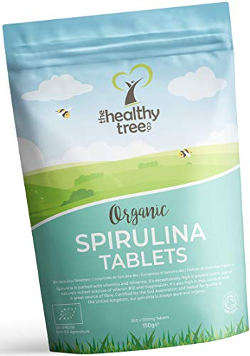 Organic Spirulina Tablets by TheHealthyTree Company – Vegan, High in Vitamin B12, Protein, Magnesium, Iron and Calcium…
