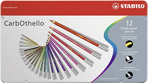 Stabilo CarbOthello Chalk-Pastel Colored Pencil, 4.4 mm - 12-Color Set (Best Way To Blend Colored Pencils)