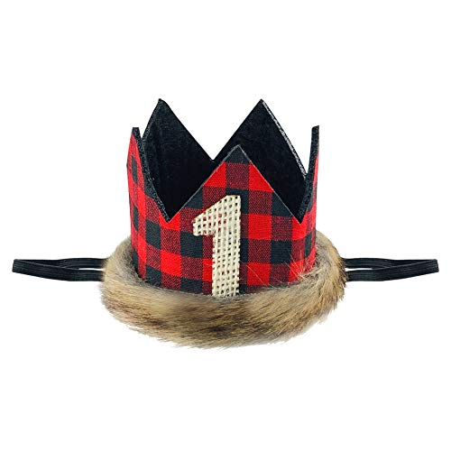 Lumberjack Baby Crown, Fuax Fur Lumberjack Crown for Baby First Christmas Baby First Birthday Camping Lumberjack Themed Birthday Party Supplies