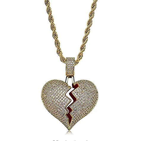 ICE BOX Heartbreak Necklace. Broken Heart Chain. Trippy Red Gold Color CZ Diamonds Necklace. Silver Color Bling 24K GP Necklace. 24in