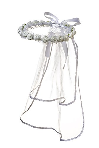 Girls First Communion White Rosebud Veil Headpiece