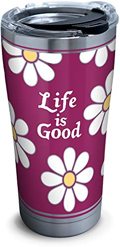 Tervis 1302580 Life is Good - All Over Stainless Steel Insulated Tumbler with Clear and Black Hammer Lid, 20 oz, Silver (Life Steel Stainless)