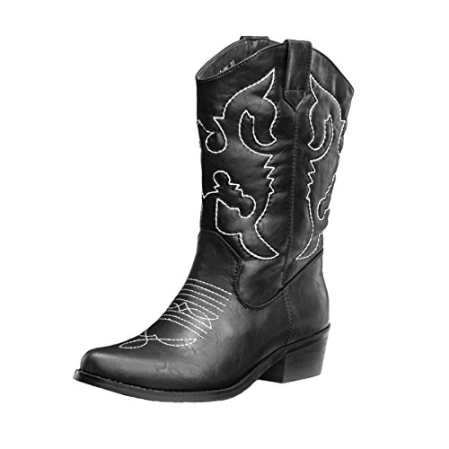 SheSole Women's Embroidered Cowboy Cowgirl Western Boots Black US 11