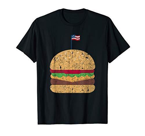 Patriotic Cheese Burger Shirt American Flag 4th July BBQ Tee