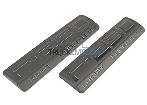 2 NEW (PAIR) CUSTOM MATTE BLACK set of Ford F250 Super Duty LARIAT Side Fender Emblem Chrome 2005-2011