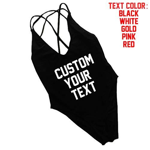 Women Custom Text Cross Back Bikini One Piece Swimsuit Plus Size Swimwear Bodysuit Monokini