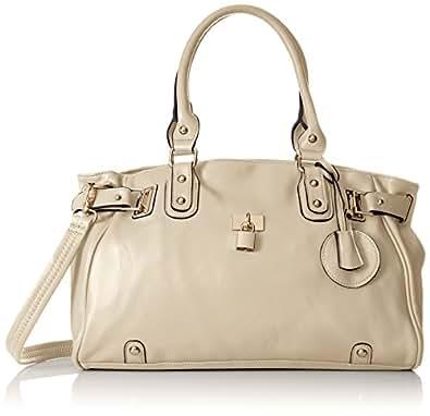 MG Collection Lucca Designer Inspired Glamour Shopper Tote Handbag, Beige, One Size
