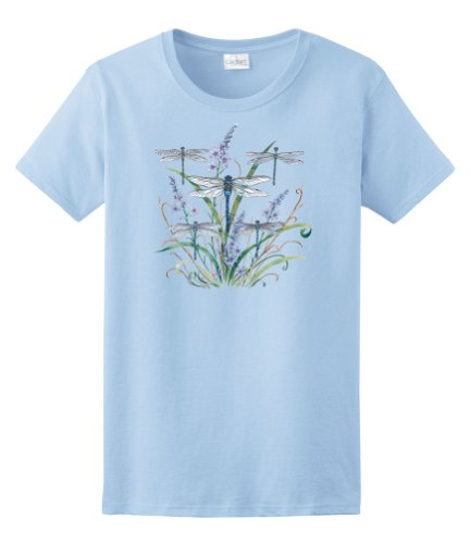 Express Yourself Ladies Dragonfly Lace Tee (Light Blue - Ladies Medium)