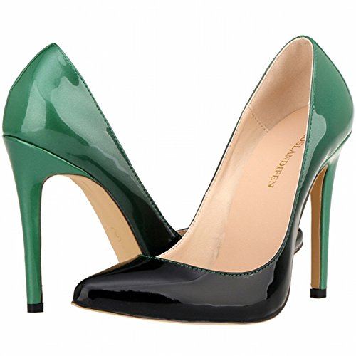 color heels Women's Asakuchi and Green 2016 Two Gradient Stiletto Personality America New High Tip shoes Europe 887OqaFf