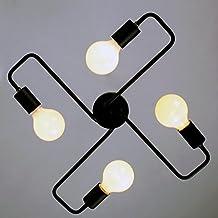 Vintage Pendant Ceiling Light, MKLOT Industrial Barn Metal Semi Flush Mount Ceiling Light Chandeliers Lighting Fixture 4-Lights