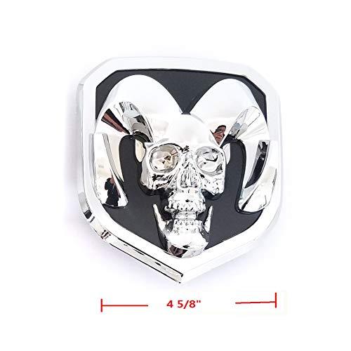 Skull Grille - 1pc OEM Front Grille Emblem Badge 3D Skull Replacement for Ram 1500 2500 3500 Chrome Black Fit 2013-2018