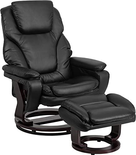 Emma Oliver Multi-Position Recliner Ottoman with Swivel Wood Base in Black Leather