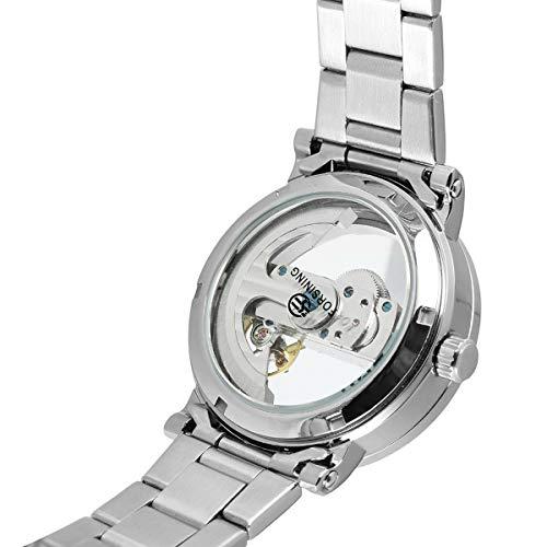 Forsining herrklocka turbillion svart gyllene våg urtavla mode vardaglig design topp märke mekanisk automatisk armbandsur för män, färgC