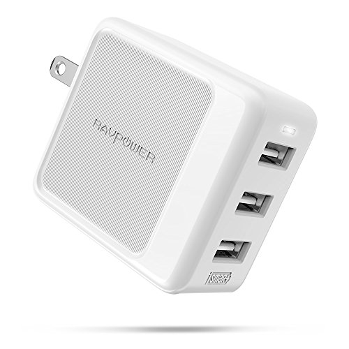 USB Wall Charger RAVPower 3-Port 30W Travel Charger Multi Port USB Charger, Charging Adapter, Compatible Xs XS Max XR X 8 7 Plus, iPad Pro Air Mini, Galaxy S9 S8 Note 8 and More (White)