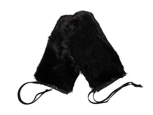 Pair of Rabbit Fur Massage Mitts (No Thumbs): Dyed Black (696-9NTULBD)