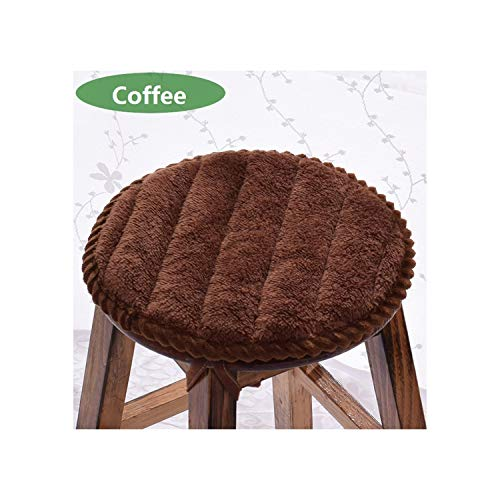 Anti Slip Chair Cushion Comfortable Office Home Seat Cushions Round Dining Chair Seat Pad Warm,Coffee,Diameter About 30Cm ()