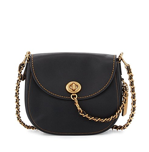 Coach 1941 Leather Turn-Lock Saddle Bag In Black Style 59241 $495