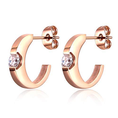 Gnoliew Stainless Steel Hoop Earrings Rose Gold Plated Curved Tube Half Open Post Earrings for Women - Earrings Curved Tube
