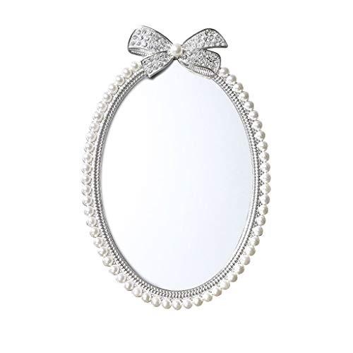 Oval Pearl Makeup Mirror Princess Mirror Desktop Student Dormitory Cosmetic Mirror Bedroom Vanity Mirror