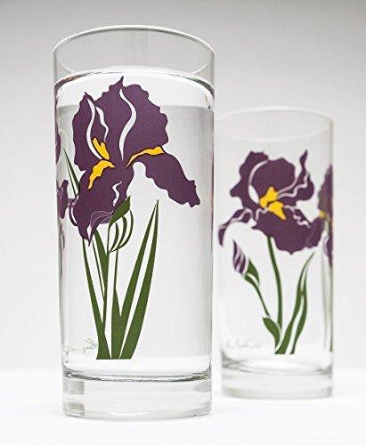 Purple Irises - Set of 2 Glasses Mother's Day Gift Glasses, Gift for Mom, Gift for Her