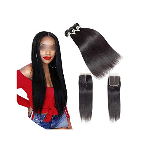 Peruvian Straight Hair 3 Bundles Human Hair Extensions With 44 Lace Closure Double Weft Weave Bundles With Closure,8 10 10 & Closure8,Natural Color,Free Part]()