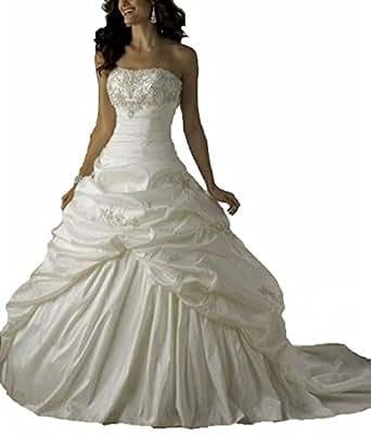 Zhu Li Ya Women's Taffeta Lace Up Beaded Ball Gown Wedding Dresses (XS, Ivory)