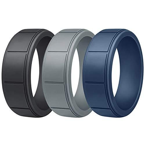 Vancle Silicone Wedding Rings Rubber Bands for Men & Women (Men- Black, Grey, Navy Blue, 11)