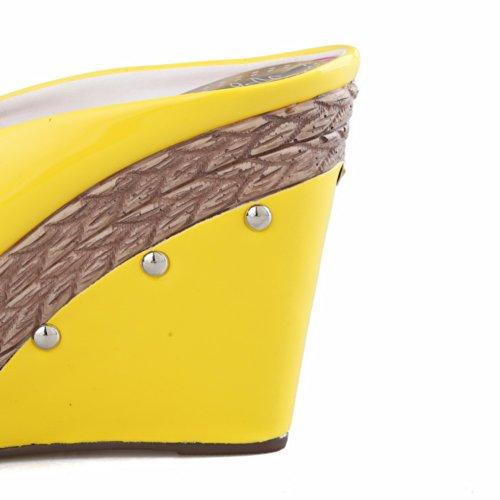Voguezone009 Matériel Sandales Coins Femmes Peep Talon Plate Royaume Souple forme Au De Toe De 5 Assorties Haut Jaune uni Ouvert Bowknot Couleurs Des De Avec La r0FawqfZxr