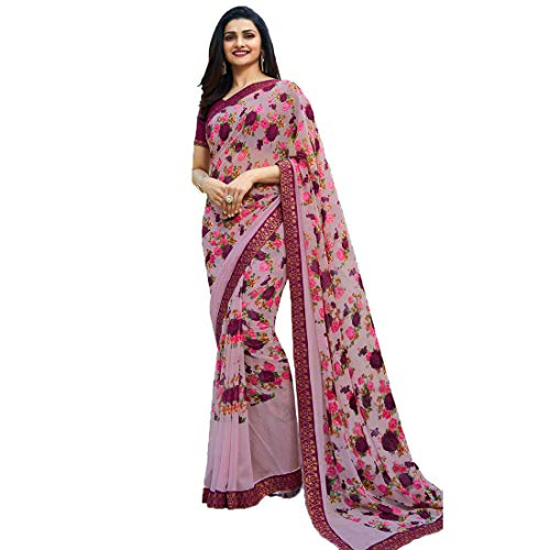 ❥ Fab Zone Designer Partywear Rose Pink Georgette Printed Saree Saree 3